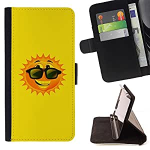 For Sony Xperia M4 Aqua Case , Sun feliz verano de dibujos animados gafas de sol- la tarjeta de Crédito Slots PU Funda de cuero Monedero caso cubierta de piel