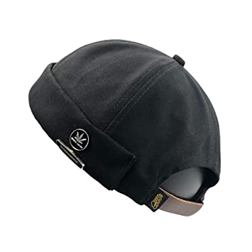 2cd7e1762 YAMEE Men Women Hats Beanie Skullcap Worker Sailor Cap Worker Hat Rolled  Cuff Retro Fashion Brimless Hat With Adjustable, Black and Khaki