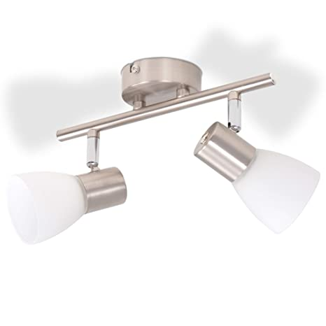vidaXL Lámpara de Techo con 2 Focos E14 Plateada Metal ...