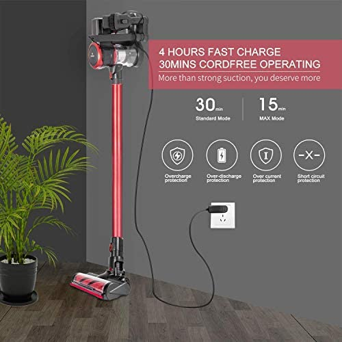 MOOSOO Cordless Vacuum, 23Kpa 4-in-1 Stick Vacuum Cleaner Brushless Motor Ultra-Quiet with Upgraded LED Floor Head for Hard Floor