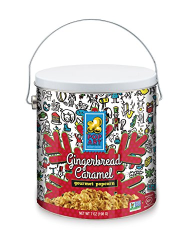 Pop Art Gourmet Popcorn Holiday Tin, Gingerbread Caramel, 7 oz