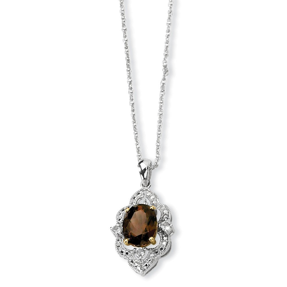 and Smoky Quartz White Simulated Topaz and Diamond Necklace -17 17in x 1mm 0.01cttw Mia Diamonds 925 Sterling Silver Solid