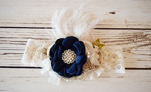 Handcrafted Dupioni Silk Ostrich Feather and Satin Over the Top Bow - Fancy Headband - Navy Blue White Champagne Gold Ivory - Wedding Flower Accessory