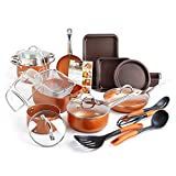 SHINEURI 23 Pieces Nonstick Ceramic Copper Cookware Set, Pots and Frying Pans Set