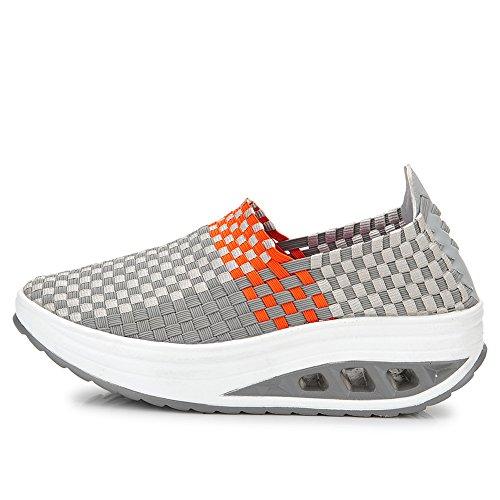 Enllerviid Vrouwen Multicolor Vlecht Mode Sneakers Casual Instapper Platform Weven Schoenen 1588 Grijs
