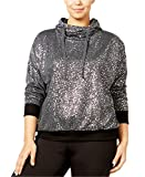 Material Girl Active Women's Plus Size Metallic Pullover Hoodie (Charcoal, 2X)