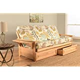 Kodiak Furniture KFPHDNTENGGDLF5MD4 Phoenix Full Futon in Natural Finish with Storage Drawers, English Garden
