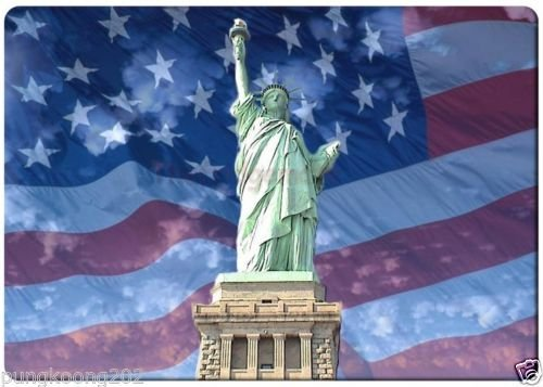 Statue of liberty and USA flag background fridge magnet 3