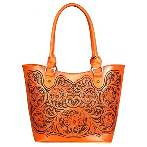 Trinity Ranch Tooled Leather Collection Concealed Handgun Tote - 9 color choices! (Orange) Tooled Faux Leather