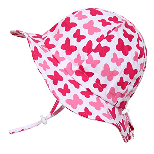 JAN & JUL Toddler Girls Breathable Sun Hat 50 UPF, Adjustable, Stay-on Tie, Foldable (M: 6-24m, Floppy Hat: Butterfly)