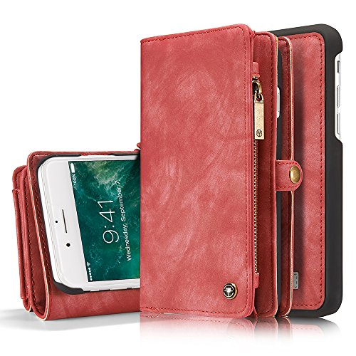 Leather Wallet Magnetic Phone Case Detachable Case with Card Holder Flip Cover for IPhone XR, Red - Wallet Womens Apple