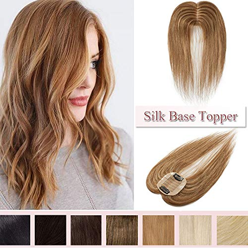 100% Real Human Hair Silk Base Top Hairpiece Clip in Hair Topper for Women Crown in Hand-made Toppee Middle Part with Thinning Hair Loss Hair #4P27 Medium Brown&Dark Blonde 14''23g