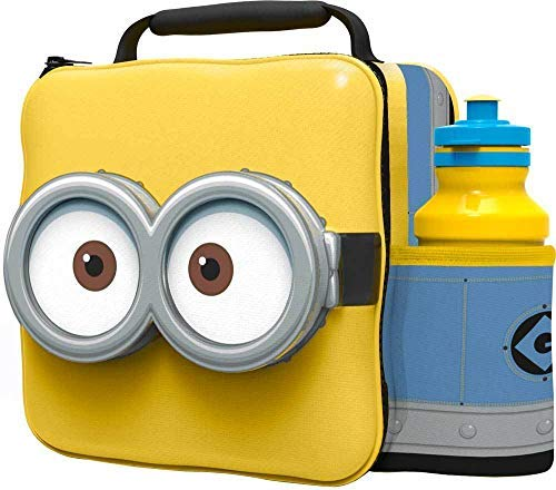 MINIONS Kids Children 3D Lunch Box Bag With Sport Water Bottle