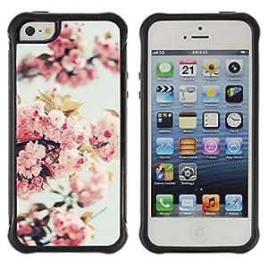 Híbridos estuche rígido plástico de protección con soporte para el Apple iPhone 5 / 5S - apple blossom tree spring nature bloom