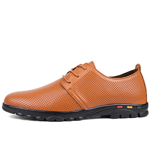 Minitoo Boys Mens Breathable Lace-Up Summer Fashion Sneaker Brown