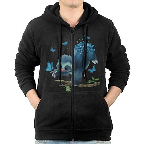 Hoodies For Men Sweater Zip Fleece Sweatshirt DerlonKaje Sloth Catch Butterflies free shipping