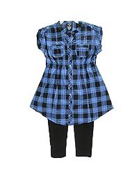 Faded Glory Big Girls Blue Black Plaid Button 2 Pc Pants Set 7-16