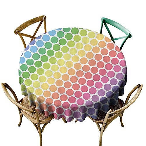 Jbgzzm Elegance Engineered Tablecloth Polka Dots Home Decor Polka Dots in Soft Rainbow Colors Big Points Eternal Shapes Retro Artful Pattern and Durable D43 Multi