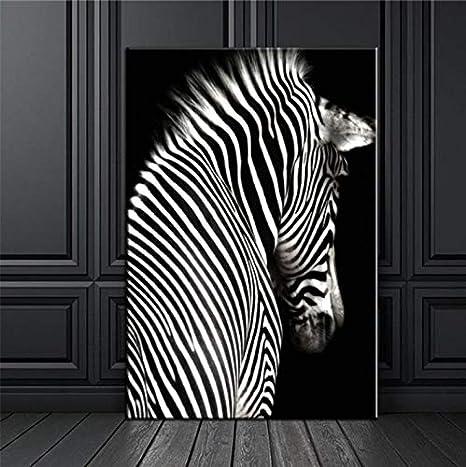 León Blanco Negro Elefante Leopardos Caballo Pared Arte Lienzo Pintura Nórdica Carteles E Impresiones Cuadros De Pared para Sala De Estar Decoración D12 50X60 Cm