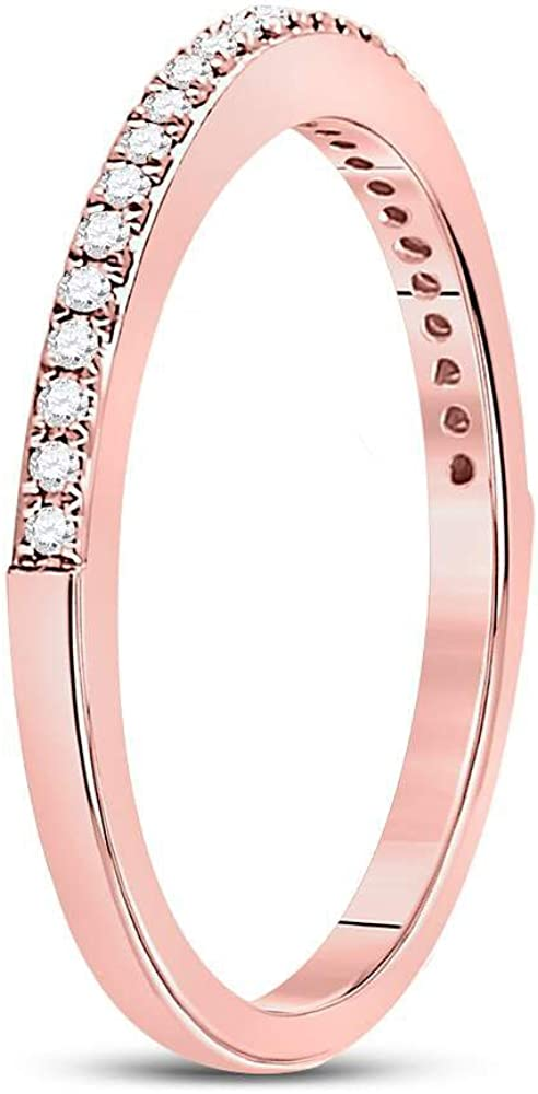 I2-I3 - Available Sizes From 5 to 11 .14cttw Mia Diamonds 10kt Rose Gold Womens Round Diamond Single Row Stackable Band Ring