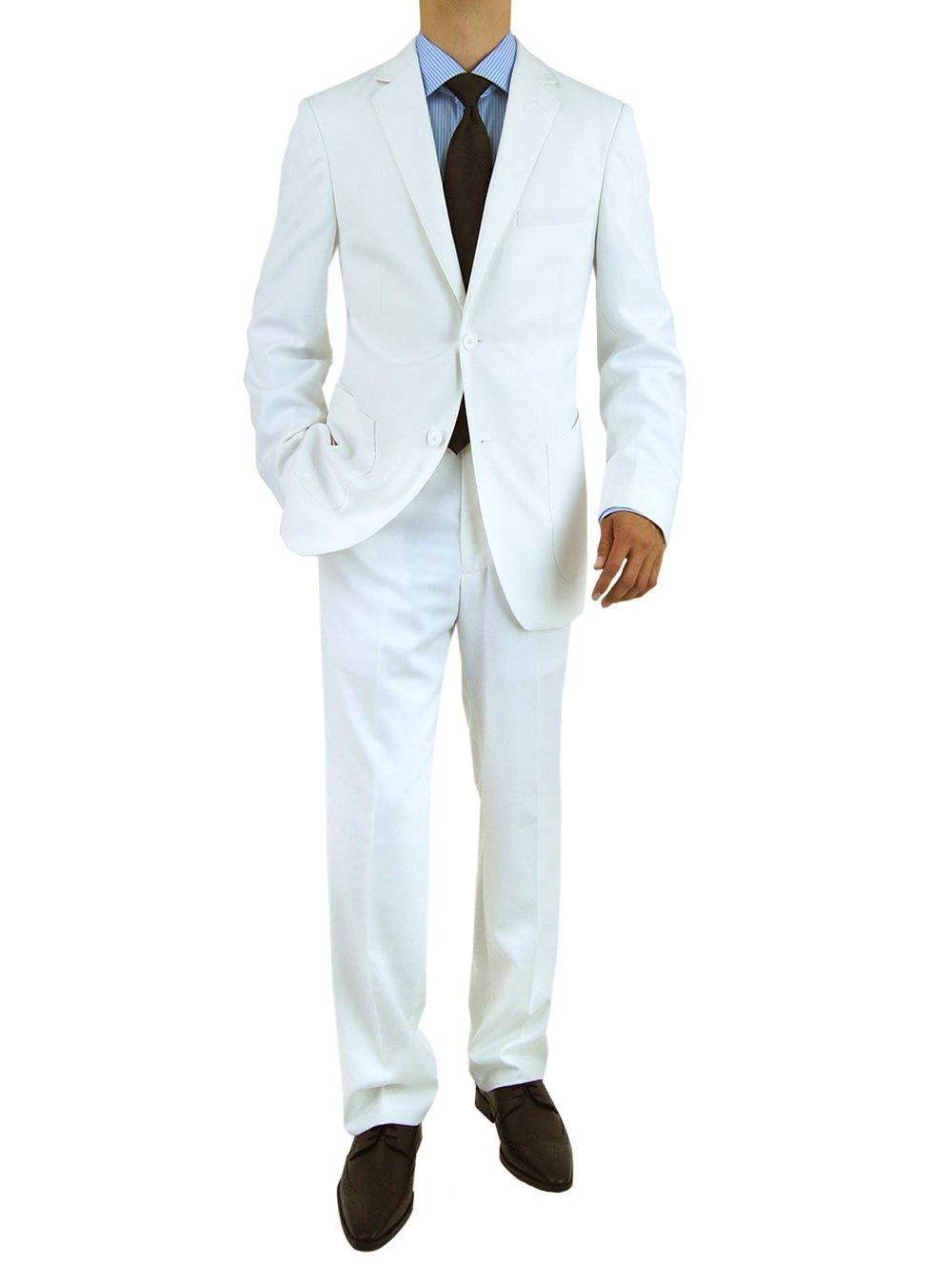 Salvatore Exte Men's 2 Button Modern Fit Suit (48 Regular US / 58R EU / W 42'', White)