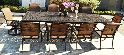 "Sunvuepatio 10 Person Patio Set 1 Elisabeth 48"" x 132"" Extension Rectangle Dining Table 8 Santa Clara Arm Chairs and 2 Swivel Rockers."