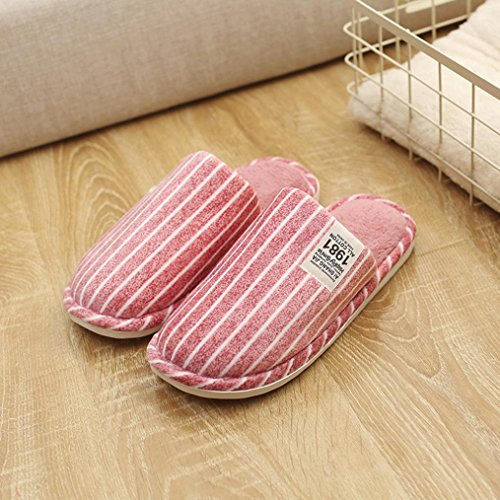 Elevin(TM)2018Women Men Couple Winter Stripe Indoor Slippers Home Anti-Slip Soft Warm Shoes Red KOCEpgEZ
