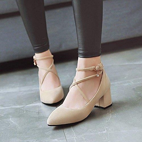 TAOFFEN Women's Cross Strap Court Shoes Heels Beige-22 4V3Sz