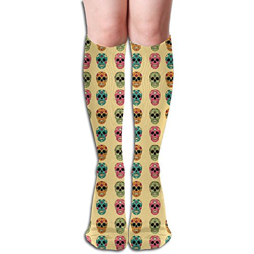 Rainbow Diamond Mexican Skulls Below The Knee High Socks Sports Athletic Casual Tube (Diy Sally Halloween Costume)