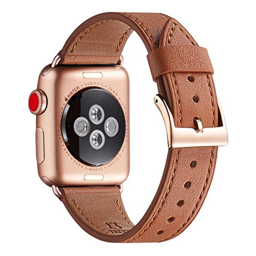 WFEAGL Compatible iWatch Band 42mm 44mm, Top Grain Leather Band with Gold Adapter (The Same as Series 4/3 with Gold Aluminum Case in Color) for iWatch Series 4/3/2/1 (Brown Band+Rosegold - Brown Band Gold Leather
