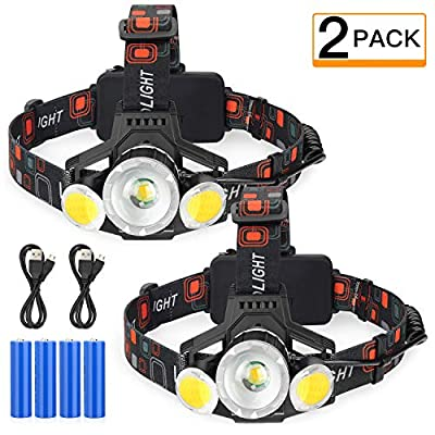 Rechargeable LED Headlamp, 2019 Newest 10000 Lumen Super Bright Zoomable Headlight, 4 Modes USB Recharge Flashlight, Waterproof Head Lights with Red Light for Camping Hiking Outdoors, Pack of 2