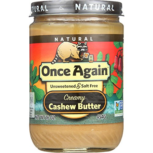 Once Again Natural Creamy Cashew Butter - Unsweetened and Salt Free - 16 oz - case of 12 - Gluten Free - USDA Organic - Non GMO by Onceagain