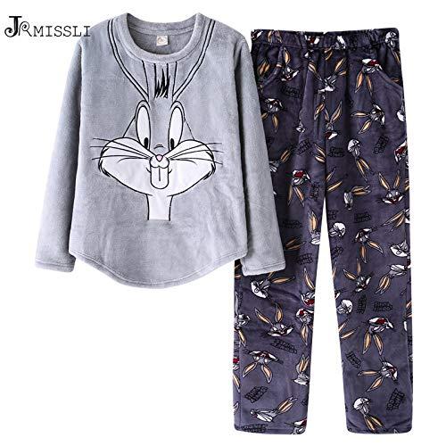 1e795748bd UATECH JRMISSLI Winter Warm Pajamas Set Women Sleep Set Flannel Bugs Bunny  Homewear Pijama Women Pajama