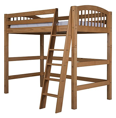 Camaflexi Arch Spindle Style Solid Wood High Loft Bed, Twin, Side Angled Ladder, Natural ()