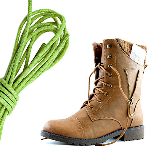 DailyZapatos Mujeres Military Lace Up Buckle Combat Botas Cremallera Sweater Tobillo High Exclusivo Bolsillo De La Tarjeta De Crédito, Verde Lima Tan Pu