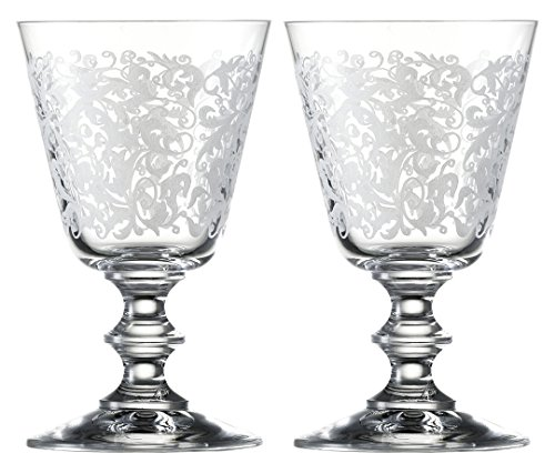 Eisch 15862020 Vincennes Hand-Etched Lead-Free Crystal White Wine/Aperitif (2 Set), 7.4 oz, Clear