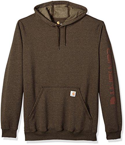 Carhartt Men's Big Big & Tall Midweight Signature Sleeve Logo Hooded Sweatshirt, Dark Coffee Heather, 3X-Large/Tall