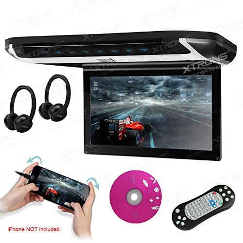XTRONS 10 inch HD Digital TFT Monitor Car Roof Flip Down Overhead DVD Player Game Disc with HDMI Port(Built-in DVD Drive) (CR108HDS+DWH007x2)
