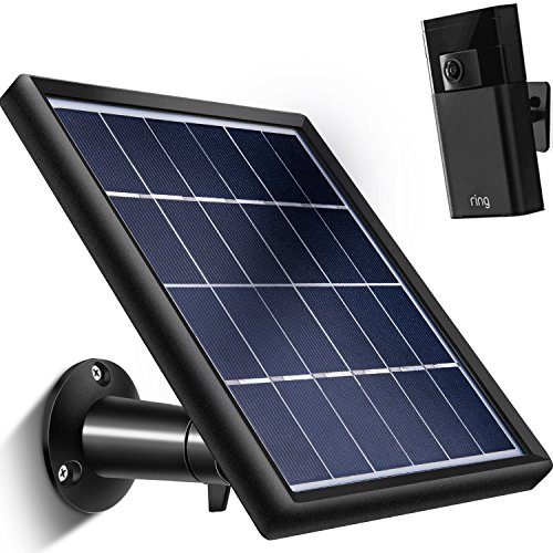 TOODOO Solar Panel for Ring Stick up Cam (Only), Cable with Micro USB Connector (11.8 ft), Waterproof Charge Continuously, 5 V/ 3.5 W (Max) Output (NOT FIT for Ring Spotlight/Arlo - Panel Solar Down Stick