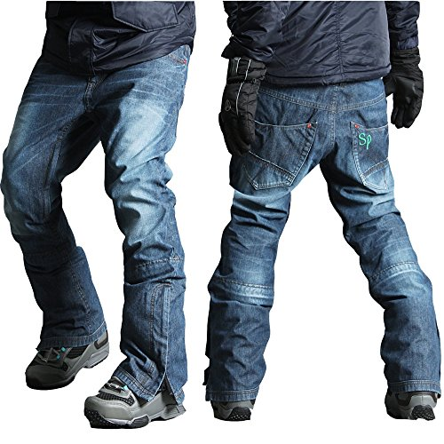 myglory77mall Mens Winter Warm Waterproof hip Ski Snowboard Denim Pants JEANS US L - Skinny Snowboard Pants Men