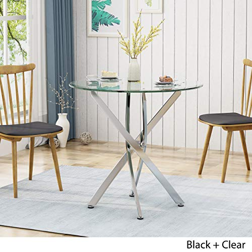 King Contemporary Stainless Steel Bistro Dining Table with Tempered Glass Top, Black by Christopher Knight Home (Image #2)