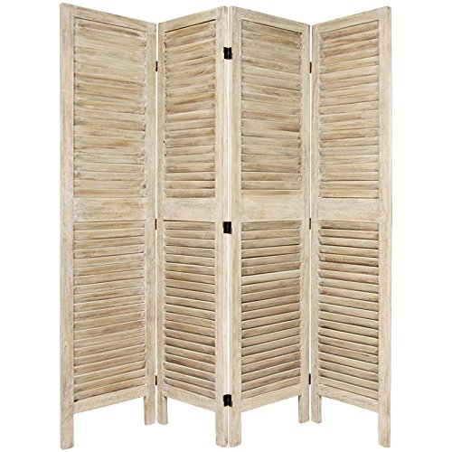 Japanese Shoji Doors - Oriental Furniture 5 1/2 ft. Tall Classic Venetian Room Divder - Burnt White - 4 Panel