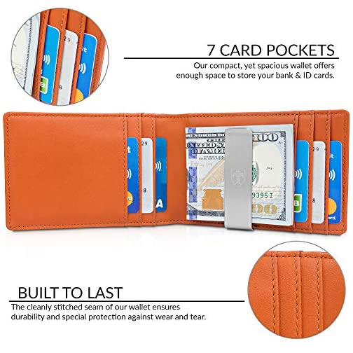 """TRAVANDO Money Clip Wallet/""""RIO/"""" Mens Wallets slim Front Pocket RFID..."""