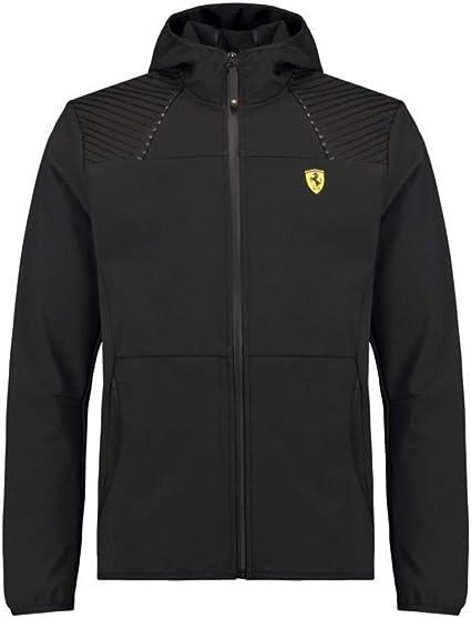 S Scuderia Ferrari F1 Mens Hooded Bomber Jacket Black Branded Sports Merchandising B.V