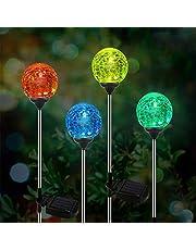 OxyLED solarna lampa ogrodowa LED, 4-częściowy zestaw szklanych kulek, solarne globe światła, zmieniające kolory, oświetlenie ogrodowe LED, do użytku na zewnątrz, do ogrodu, na balkon, taras, trawnik, ścieżki