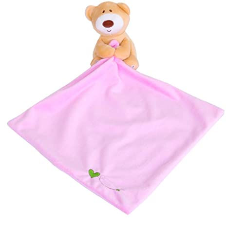 YeahiBaby Baby Bib Toallas Suaves con Lindo Animal de Peluche para Dormir Appease Toy Feeding Accessories