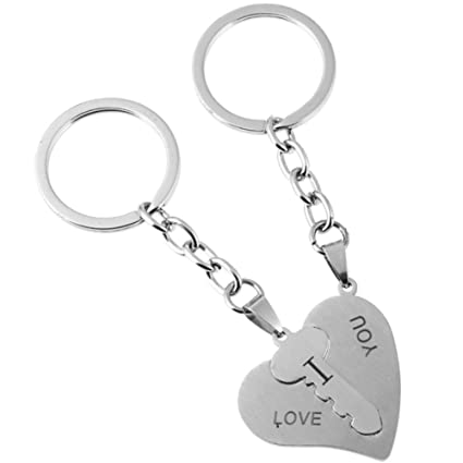 "ef80ec7e9b Image Unavailable. Image not available for. Color: 2Pcs ""I Love  You"" Matching Heart Lovers Couples Keychains Set ..."