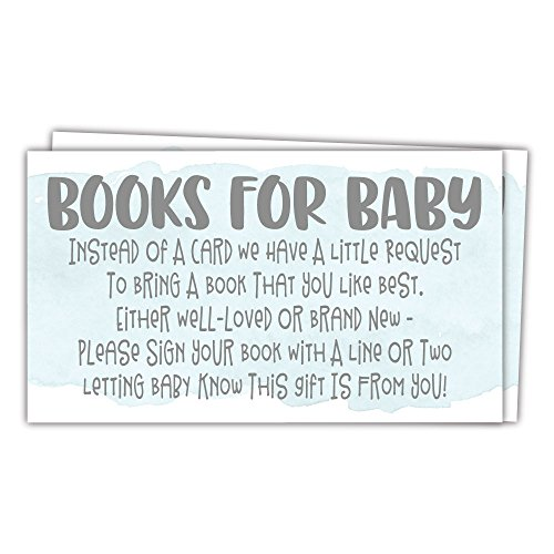 (50 Blue Watercolor Books for Baby Shower Request Cards - Invitation Inserts - Boy Baby Shower)