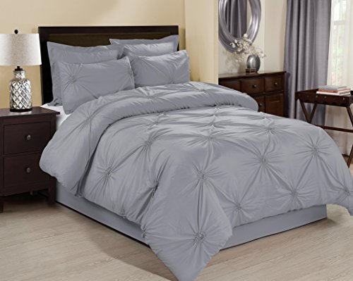 6 Piece EMERYVILLE Pinch Pleated Comforter Sets- Queen King Cal.King Size (Queen, Gray) price