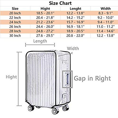 Luggage Cover 28 Inch Suitcase Cover Rolling Luggage Cover Protector Clear PVC Suitcase Cover for Carry on Luggage